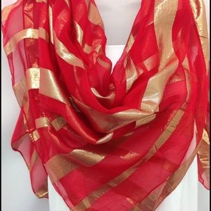 COPY - Red Silk sparkly Scarf, Red Gold Striped s…